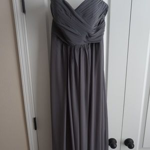 Dresses & Skirts - Long Empire bridesmaid dress sweetheart neck gray